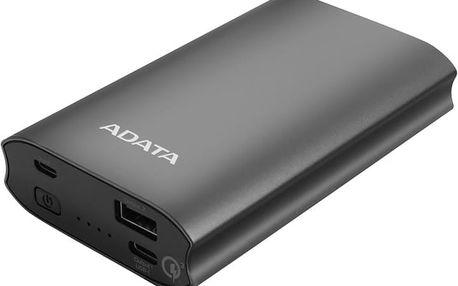 ADATA A10050QC Powerbank 10050mAh, titanová - AA10050QC-USBC-5V-CTI