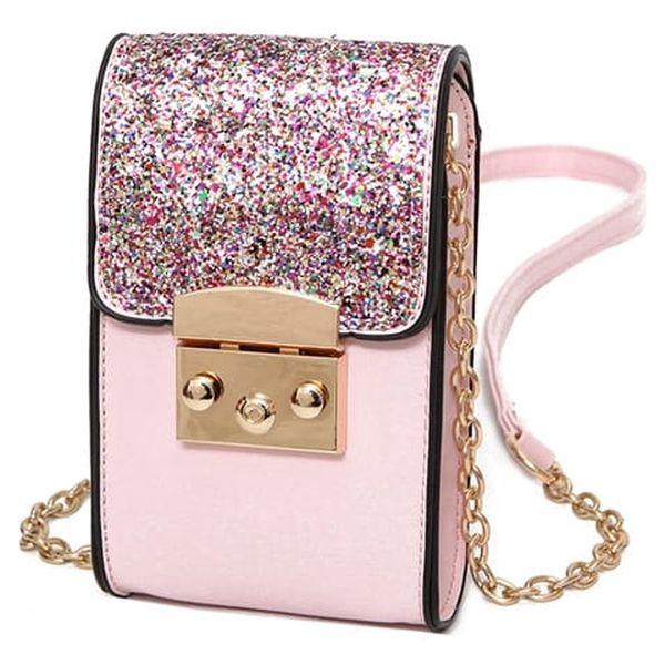 Mini třpytivá kabelka - Růžová 1