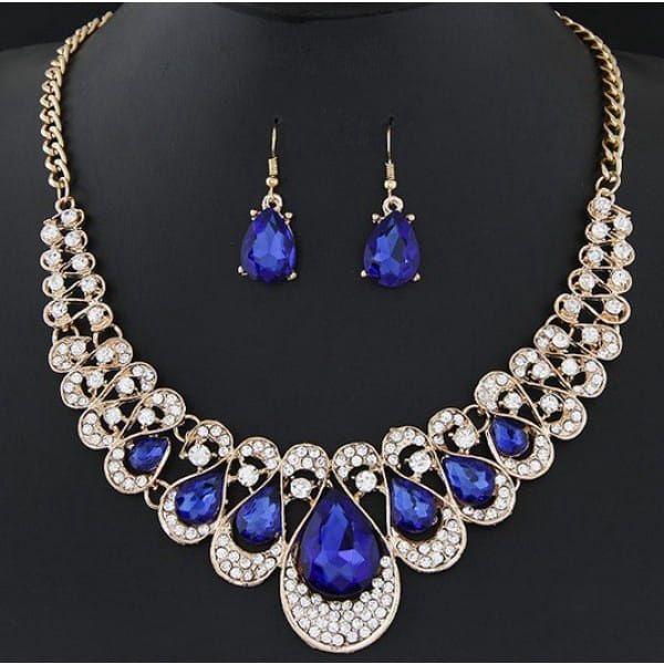 Sada výrazného náhrdelníku s kamínky - 6 barev