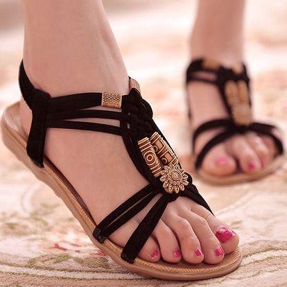 Dámské letní sandálky v ležérním bohémském stylu - Černá-40