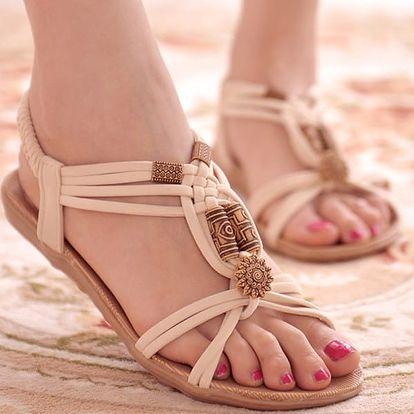 Dámské letní sandálky v ležérním bohémském stylu - Bílá-40