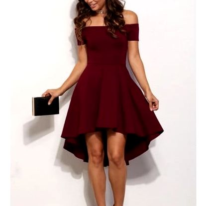 Elegantní jednobarevné šaty - Červená-velikost č. 5