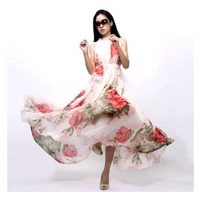 Květované dlouhé šaty na léto - velikost 4 - dodání do 2 dnů