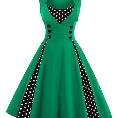Retro šaty s puntíky - zelené, vel. 3