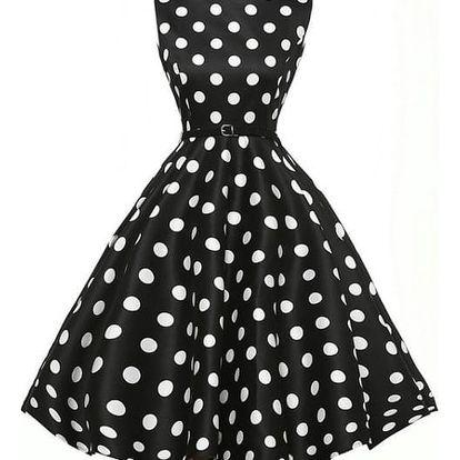 Retro šaty s délkou ke kolenům - varianta 11, velikost č. 6