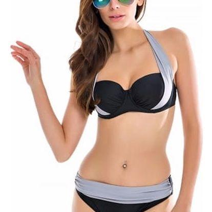 Dámské dvoudílné plavky s vysokým pasem a push-up efektem - gGY, velikost 8