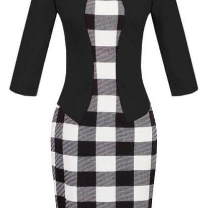 Módní šaty dvojdílného vzhledu-plaid Černá-velikost č. 4
