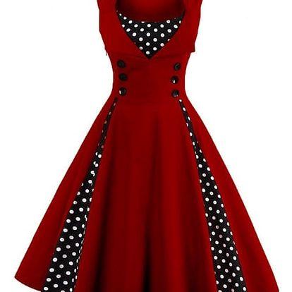 Retro šaty s puntíky - Vínová-velikost č. 8