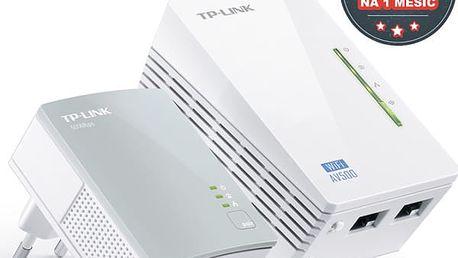 Síťový rozvod LAN po 230V TP-Link TL-WPA4220 KIT + IP TV na 1 měsíc ZDARMA (TL-WPA4220KIT) bílý + DOPRAVA ZDARMA