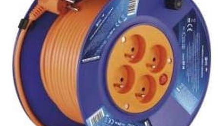 Kabel prodlužovací na bubnu EMOS 4x zásuvka, 20m (DG-4ZR-F04) oranžový