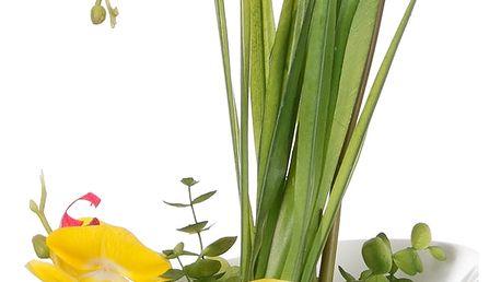 Dekorace z umělých a sušených květin Žlutá orchidej velká