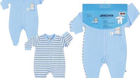 JACKY Overal na zip 2 ks, vel. 74/80 - modrá, kluk