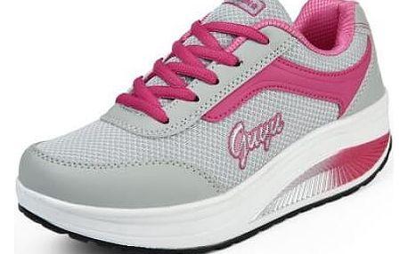 Dámská sportovní obuv s vyšší podrážkou -Tmavě růžová-38