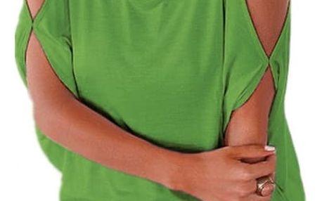 Dámské plus size tričko s otvory na ramenou - světle zelená, velikost 2