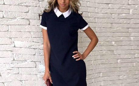 Elegantní dámské šaty s límečkem - černé, vel. 3
