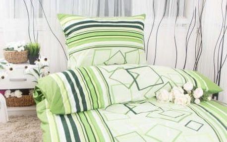 Dreaming Peacock Prodloužené bavlněné povlečení HANA - zelená 140x220, 70x90