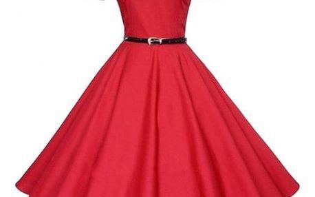 Šaty s širokou sukní a s páskem