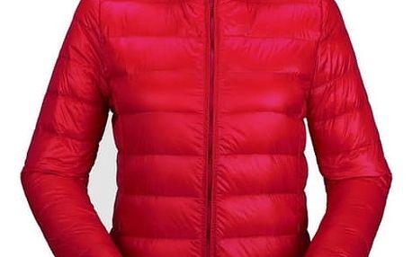 Dámská ultratenká teplá bunda s kapucí - Červená, velikost 4