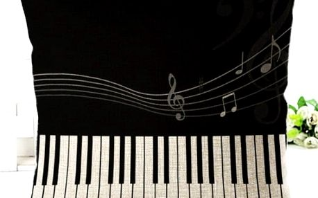 Povlak na polštář 45 x 45 cm - hudební provedení