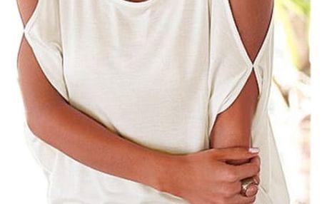 Dámské plus size tričko s otvory na ramenou - bílé, vel. 2