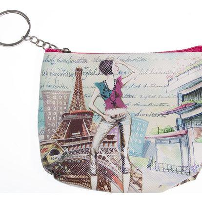 Peněženka Paříž mini na drobné mince červená