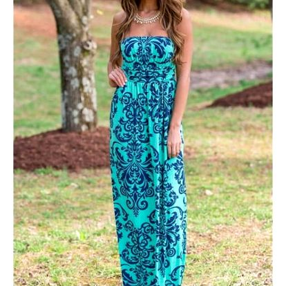 Letní šaty v dlouhém provedení - zelená barva - velikost 5 - dodání do 2 dnů