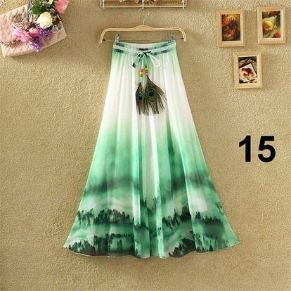 Lehoučká dlouhá sukně na jaro i léto - varianta 15