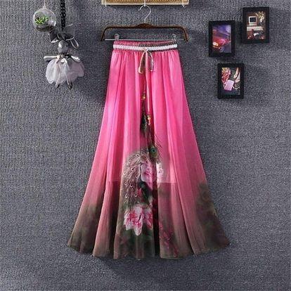 Rozmanitá sukně s ozdobným pavím pírkem na léto - dlouhá - 20