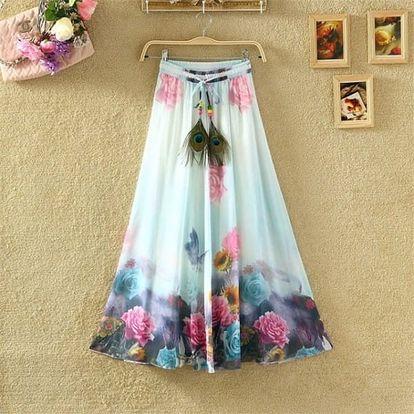 Rozmanitá sukně s ozdobným pavím pírkem na léto - dlouhá - 17
