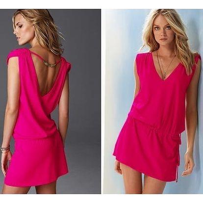 Dámské šaty v pestrých barvách - Tmavě růžová