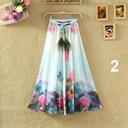 Lehoučká dlouhá sukně na jaro i léto - varianta 2