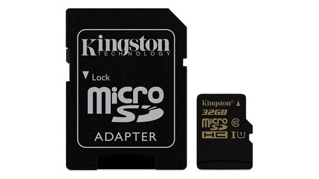 Paměťová karta Kingston MicroSDHC 32GB UHS-I U1 (90R/45W) + adapter (SDCA10/32GB)