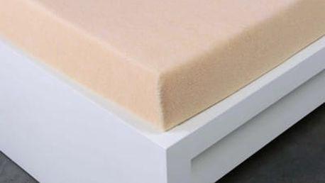 XPOSE ® Froté prostěradlo dvoulůžko - bílá káva 180x200 cm
