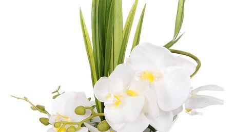 Dekorace z umělých a sušených květin Bílá orchidej velká