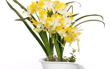 Dekorace z umělých a sušených květin Bilo-žlutá orchidej