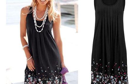 Lehké dlouhé květinové šaty pro ženy - černá, velikost 5