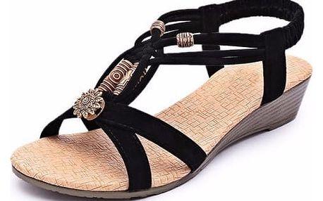 Dámské ornamentální sandály - Černá-40