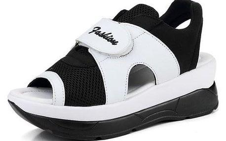 Dámské turistické sandále na suchý zip - Černobílá-24,5 cm (vel. 39) - dodání do 2 dnů