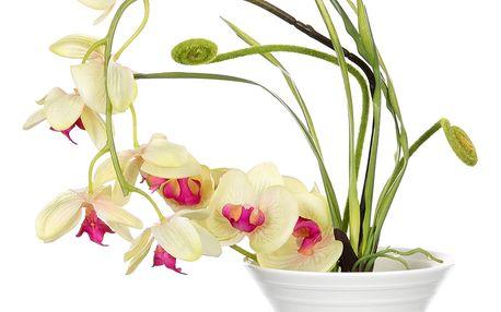 Dekorace z umělých a sušených květin Bilá orchidej