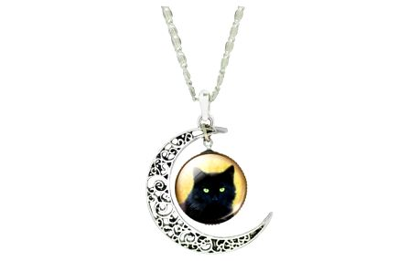 Dámský náhrdelník s půlměsícem a kočkou