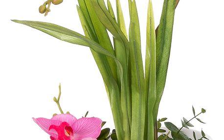 Dekorace z umělých a sušených květin Růžová orchidej