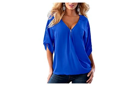 Stylový top se zipem pro ženy - modrá - velikost 1 - dodání do 2 dnů