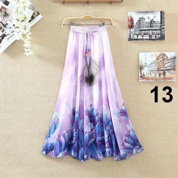 Lehoučká dlouhá sukně na jaro i léto - varianta 13
