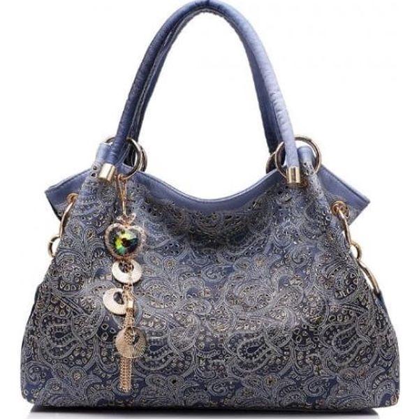 Dámská kabelka s originálním zdobením - Šedá