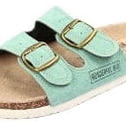 Dámské pantofle z pravé kůže zelené