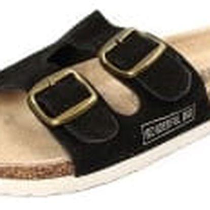 Dámské pantofle z pravé kůže černé