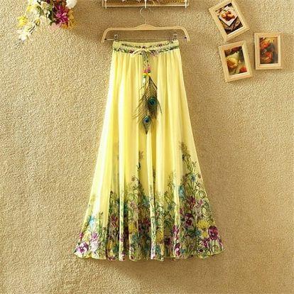 Lehká dlouhá letní sukně - varianta 3