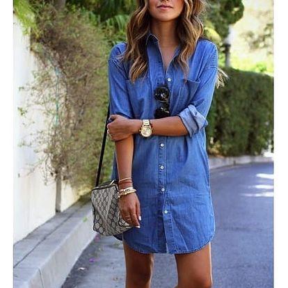 Košilové šaty s džínovým motivem - velikost 6