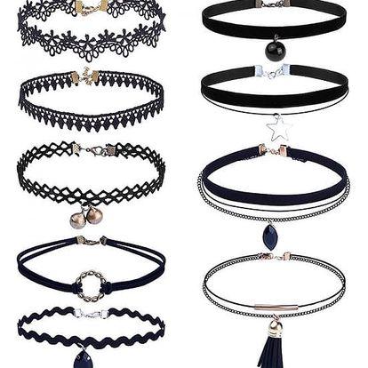 Černé choker náhrdelníky s krajkou nebo přívěsky - 9 kusů