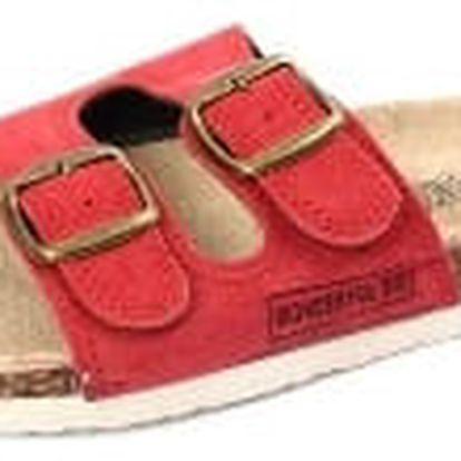 Dámské pantofle z pravé kůže červené